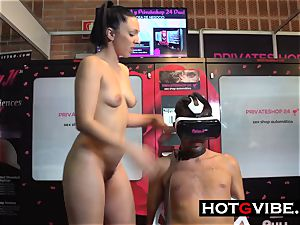 lesbians drizzling on fellow sub in Public