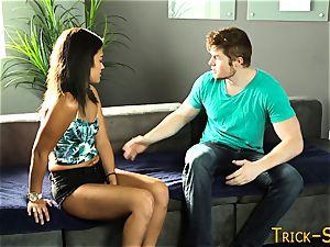 black-haired stunner massaged down