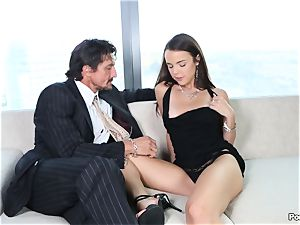 mouthy Dillion Harper shafted by a suited boy