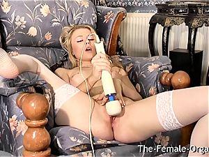 Femorg blonde in pantyhose Bates wet twat to orgasm