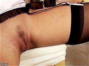 Kathia Nobili scorching platinum-blonde slurping a blue fuck stick