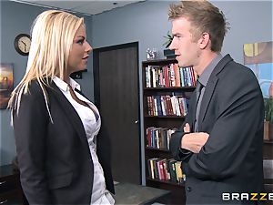 Britney Shannon pokes her antsy boss in his office
